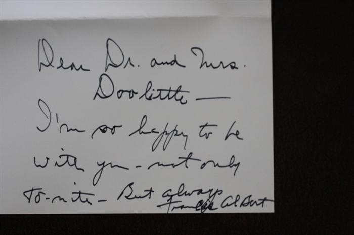 Note written and signed by Frank Sinatra.