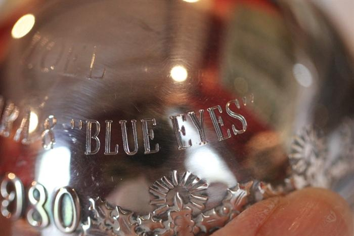 """Christmas ornament gift from """"Barbara & 'Blue Eyes'"""", 1980"""