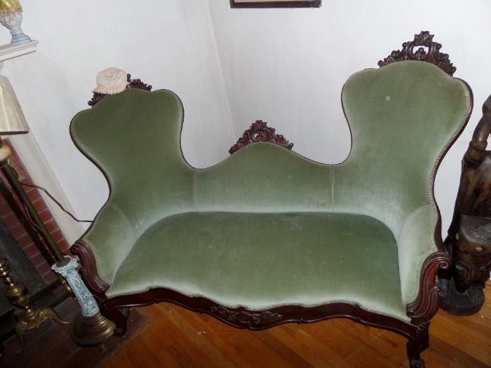 rare cut out victorian setee