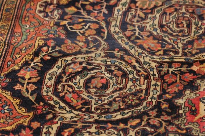 """Fantastic array of fine carpets and rugs in this sale (21 in all)... Tabriz, Qazvin, Ingelas, several Hamadan, Lilihan, Sarouk, etc.     This example is a Fereghan Sarouk carpet, 8'8"""" x 12'2"""", some wear,  from the late 1890s - early 1900s"""