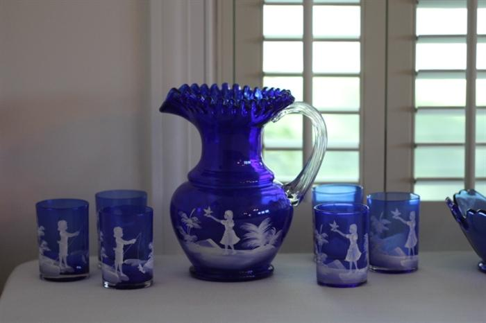 Lovely Mary Gregory pitcher with six glasses