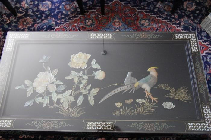 amazing coffee table with mother-of-pearl inlay and precious stones