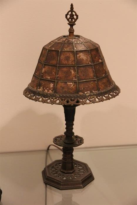 """a good Arts and Crafts era lamp with mica shade, unsigned, lamp is right but """"as is"""""""
