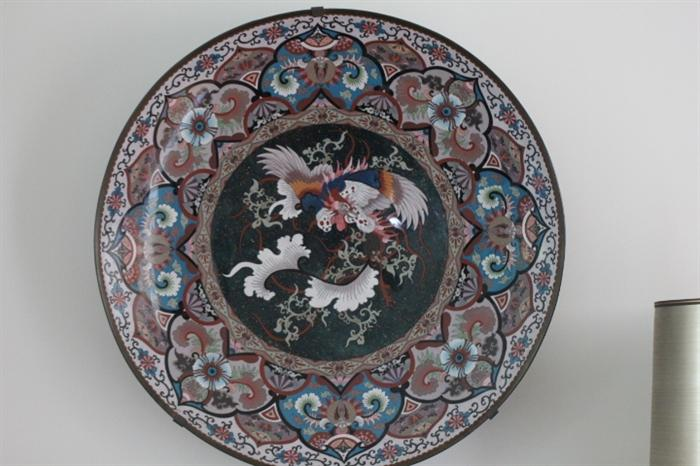 large cloisonne bowl, mounted on wall for display