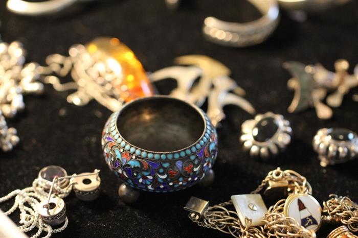 Russian silver enamel salt dish, gold filled charm bracelet
