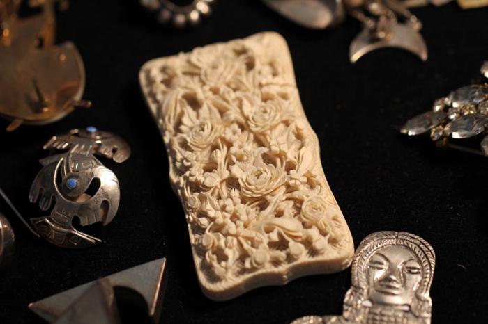 carved ivory case