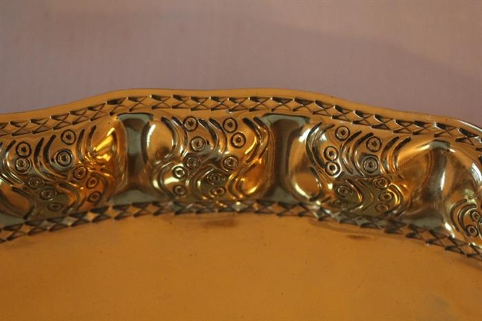 detail on hammered brass tray