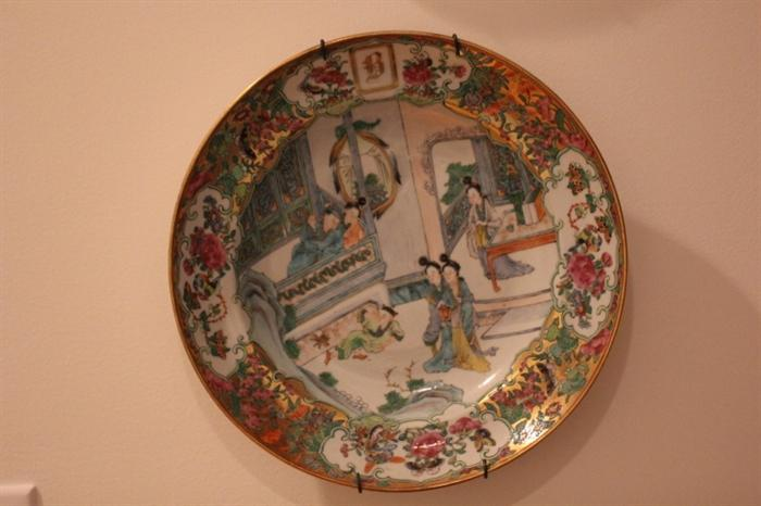 Chinese Export fine painted plate (one of two)