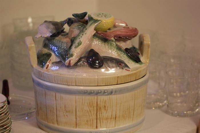 Large Italian ceramic figural lidded seafood dish from Neiman Marcus
