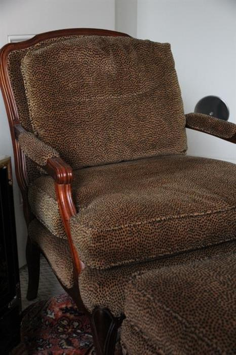 lounge chair in soft leopard-print fabric