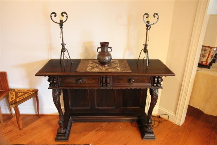 pier table with Japanese cloisonne vase, forged lamps