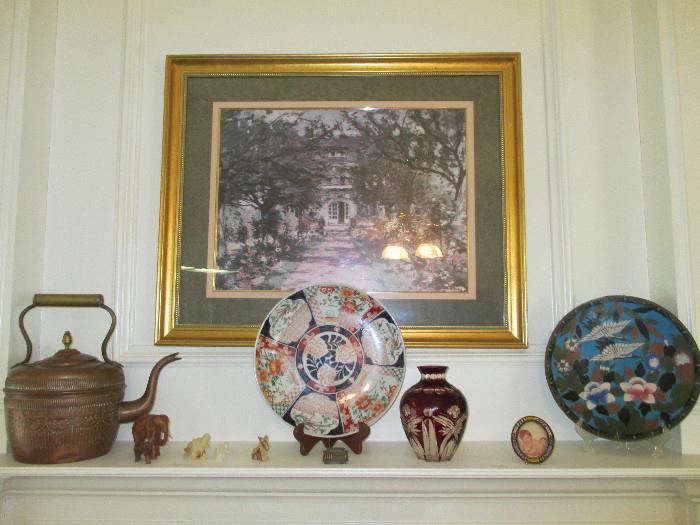 Vintage Copper Etched Pot, Imari Plate, Cut To Clear Vase, Old Cloisonne Enamel Plate