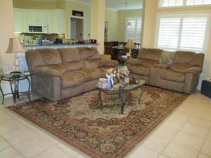 Couch, Loveseat, Glass Coffee and End Tables. Lovely Rug Too!