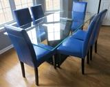 Modern contemporary glass table and 6 blue parsons chairs