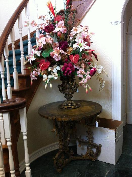 lovely custom floral arrangement; antq.round table