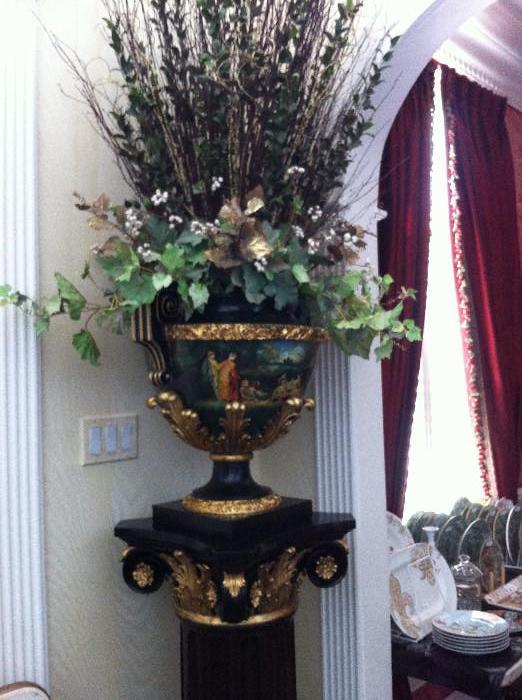 pillared carved plant stand; hand-painted urn with arrangement