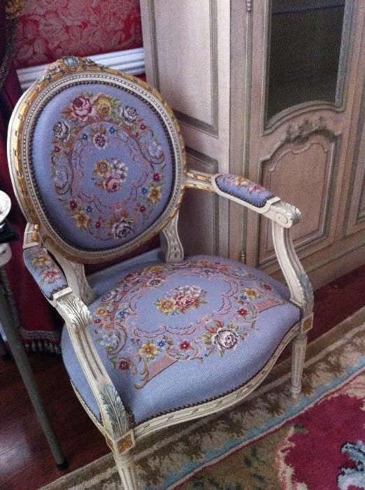 exceptional needlepoint armed chair
