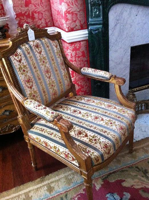 1 of 2 gilded Italian side chairs
