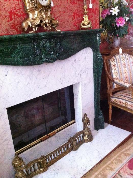 mantel clock; brass fireplace fender