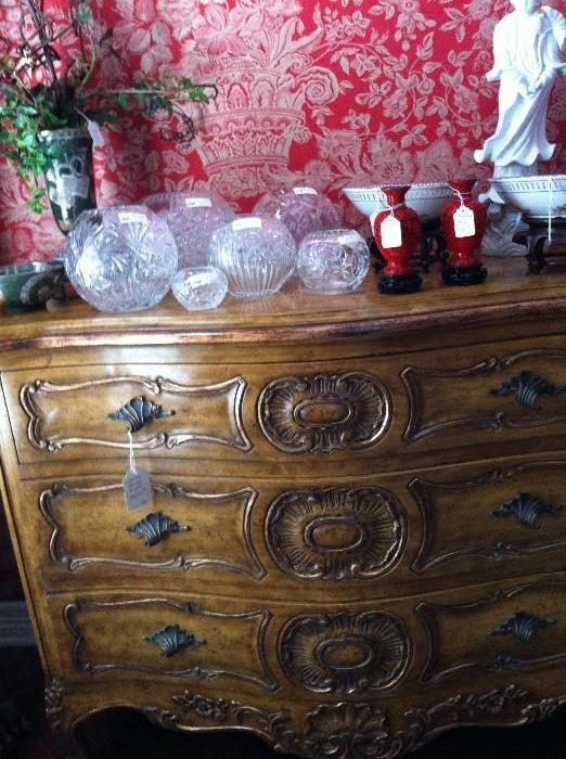 1 of 2 exquisite Bombay 3-drawer chests; rose bowls; Asian items