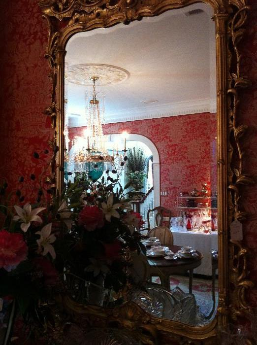 1 of 2 large ornate matching mirrors