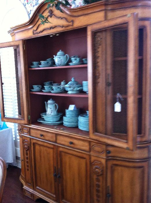 "Calyx Ware ""Singapore Bird"" English Ironstone; extra nice china cabinet"