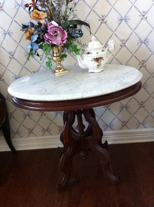 1 of 2 (not matching) marble top Victorian tables