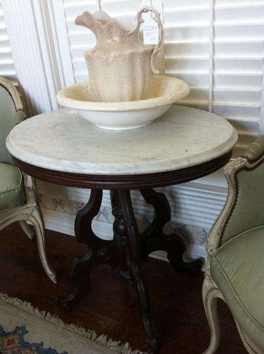 1 of 2 (not matching) marble top Victorian tables; 2 silk fabric French style chairs
