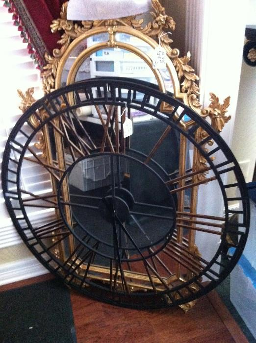 1 of several beautiful mirrors; large decorative clock