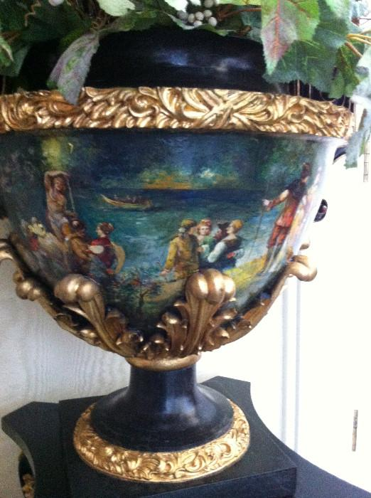 hand-painted urn with arrangement