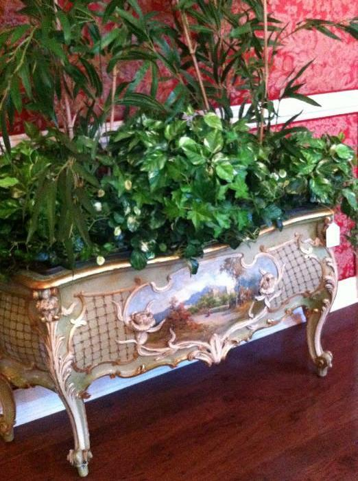 unique 5' wide hand-painted French planter