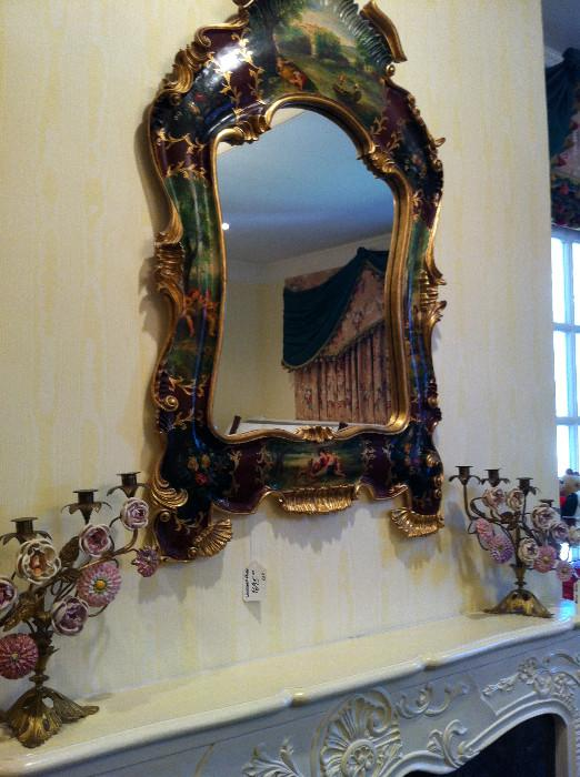 hand-painted Italian Florentine mirror; pair of decorative candelabras