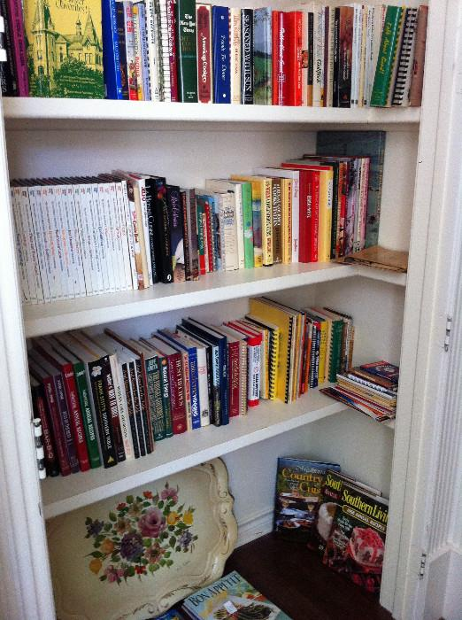 over 100 cookbooks; lovely  tole tray