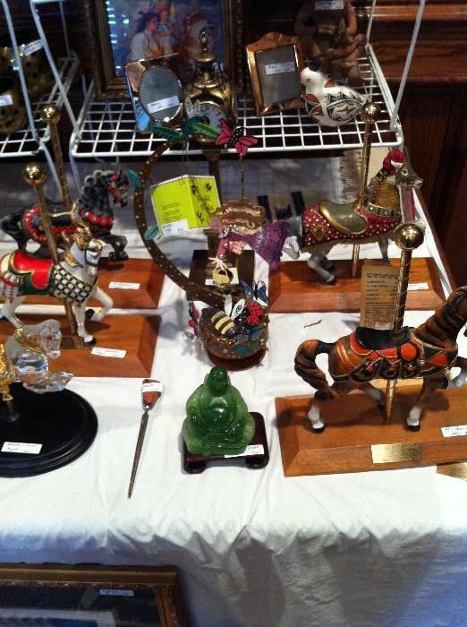 large selection of carrousel horses