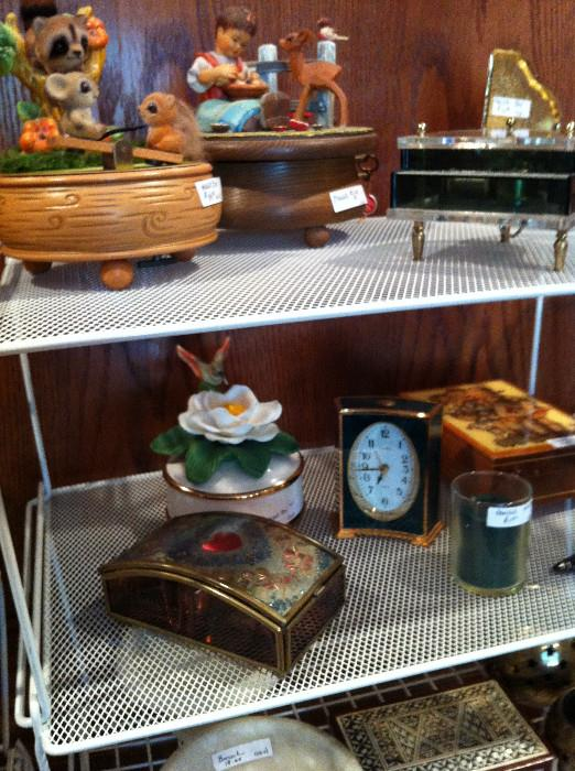 great assortment of music boxes