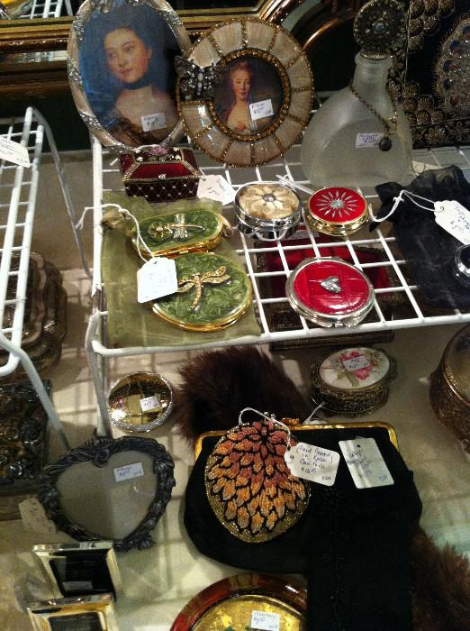 decorative compacts; evening purses; lovely frames