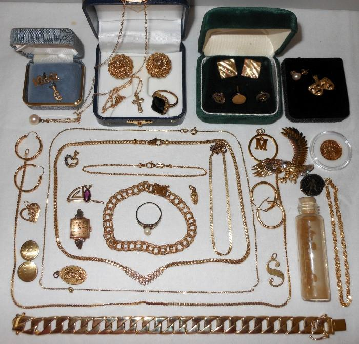 14K Gold and 10K Gold Pieces including Gold Nuggets; Chain Bracelet is 14K Gold and weighs 40.7grams.