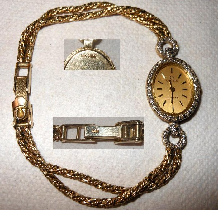 Omega 14K Gold Watch with 14K Gold Band
