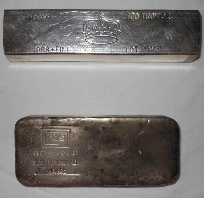 2 100 Troy Ounce Fine Silver Bars