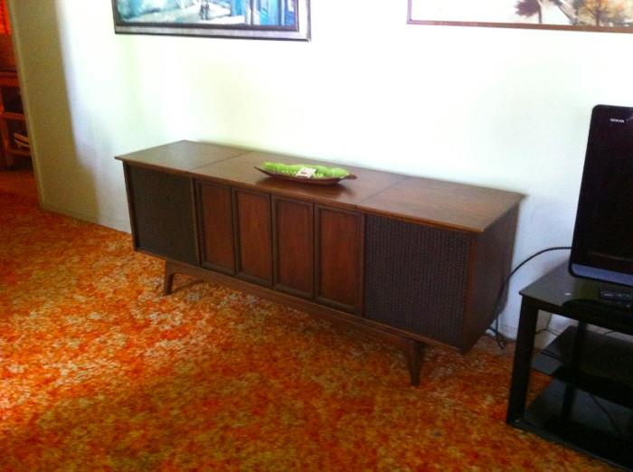 Vintage Sears Silvertone record player cabinet