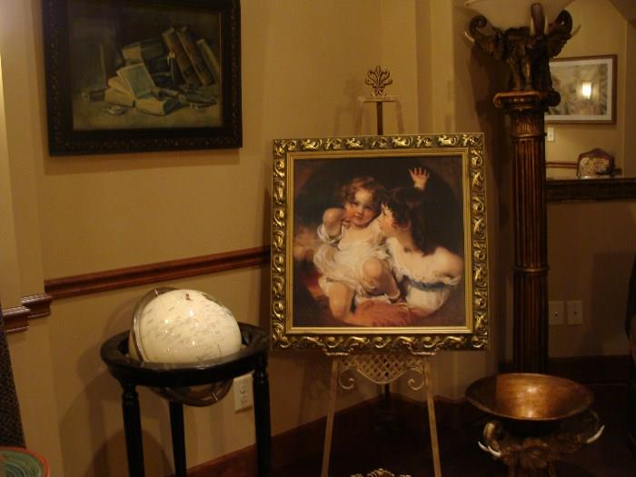 Beautiful paintings, easel, porcelain world globe and more!