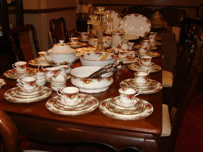 Largest collection of Royal Albert vintage Country Rose china I have seen. I believe nearly every piece that can be a part of this set is here. Pictures of individual pieces can be seen in the body of pictures below.
