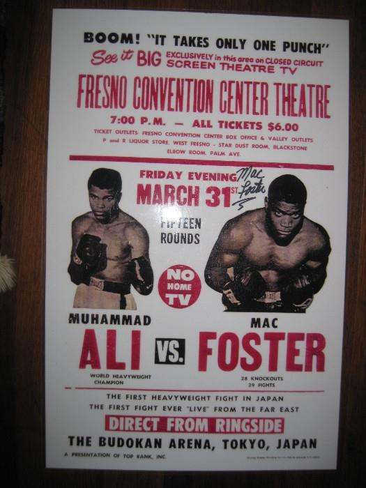 ALI vs. FOSTER 1972 FIGHT POSTER SIGNED BY FOSTER