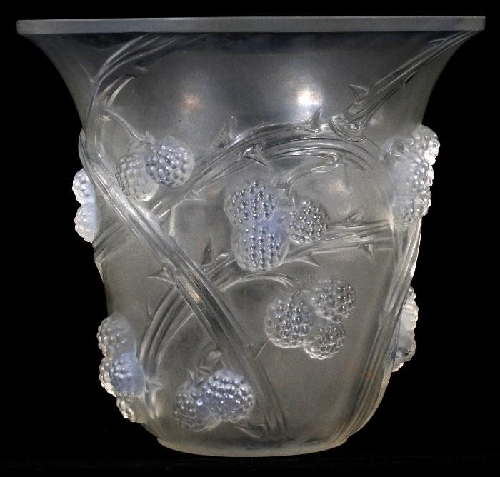 """Lot#1006, RENE LALIQUE 'MURES' OPALESCENT GLASS VASE, C. 1930, H 7 1/2""""Decorated in molded berry thorn branch motif. Stencil signed at underside, """"R. Lalique, France"""". Circa 1930. Reference: Marcilhac, number 1058 (pg. 451)."""