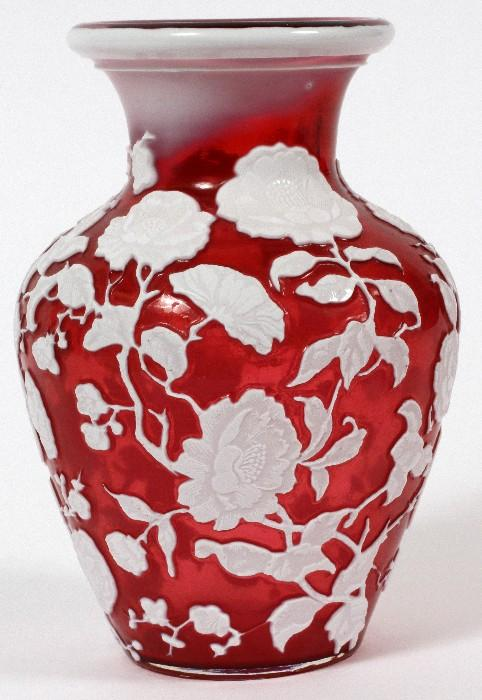 """Lot#1007, CARVED CAMEO GLASS VASE, 19TH C., H 5 7/8""""Hand blown. Cranberry crystal  with white chrysanthemum overlay. Probably Webb. Polished pontel."""