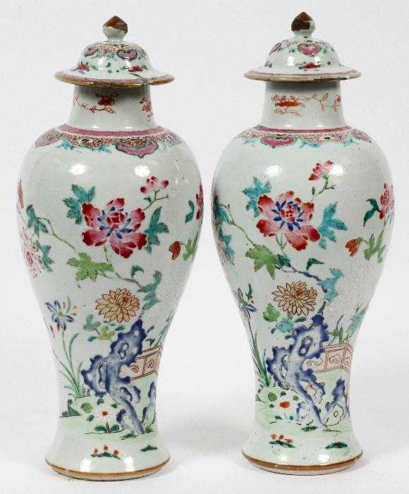 """Lot#1009, CHINESE EXPORT PORCELAIN MANTEL URNS, C. 1790, PAIR, H 14 1/4""""Painted floral and leaf design on a white ground."""