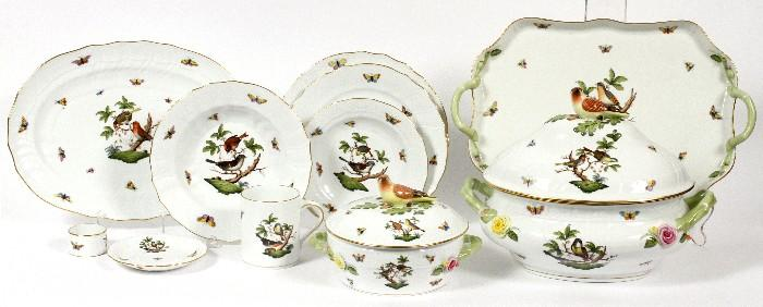 """Lot#1014, HEREND 'ROTHSCHILD BIRD' PORCELAIN DINNER SET, 60 PIECES (SERVICE FOR EIGHT)Including 8 service plates, Dia.11"""", 8 dinner plates, Dia.10 1/2"""", 8 rim soup bowls, Dia.9 1/2"""", 8 dessert plates, Dia.8 1/4"""", 8 saucers, 8 coffee mugs, and 8 napkin rings, as well as 1 oval covered tureen with branch handles, H.10"""", L.15"""", 1 oval platter, L.15"""", 1 round covered vegetable, Dia.18"""", and 1 rectangular tray with branch handles, L.18""""."""