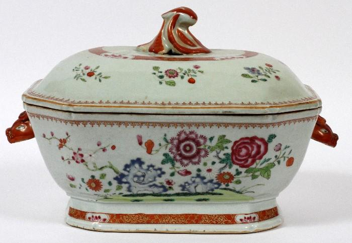 """Lot#1016, CHINESE EXPORT FAMILLE ROSE TUREEN, 18TH C., H 6"""", L 14""""Rectangular porcelain tureen with chamfered corners and conforming cover, flanked by boar's head handles, and decorated with floral branches and sprays.  Measures H.8 7/8"""" x 14"""" (to the handles) x 8 7/8""""."""