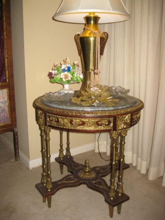 LOUIS XV GILDED BRASS & MARBLE TABLE