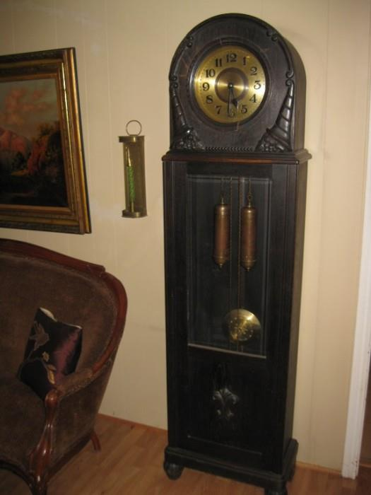 TOBIAS BAUERLE BLACK FOREST GRANDFATHER CLOCK (ca. 1900) GERMANY....RUNS & KEEPS ACCURATE TIME